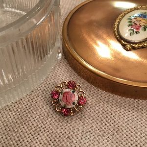 Vintage Guilloche Rose Pin & Powder / Trinket Box
